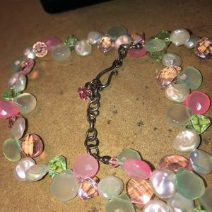Jewelry - Nice Real Coin Pearl & Glass Crystal Bead Necklace